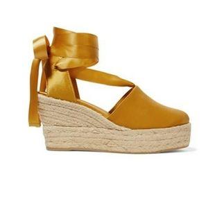 Tory Burch Elisa satin espadrille wedge sandals